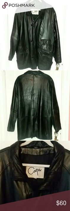 Leather Coat by Cooper Collections Black leather coat in good used condition. Cooper Collections Jackets & Coats