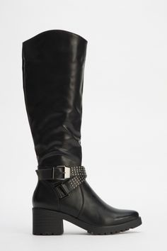 Studded Buckle Knee High Boots