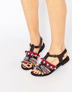 Image 1 ofGlamorous Embroidered Pom Pom Sandals