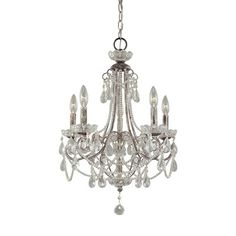 Mini chandeliers are designed to fit into even the smallest of spaces. Whether for task lighting or decorative purposes, mini chandeliers are a fun choice.  Distressed Silver finish and candle sleeves
