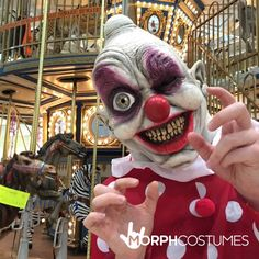 Circus Fancy Dress Costume Inspiration: Prepare for screams when you transform yourself into everyone's worst circus nightmare with the sinister digital Clown Mask. Circus Themed Costumes, Circus Fancy Dress, Clown Mask, Halloween Costumes, Halloween Face Makeup, Tech, Electronics, Digital, Inspiration
