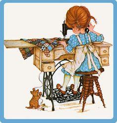 Betsey Clark, Holly Hobbie, Sarah Kay e outros Sarah Key, Holly Hobbie, Sewing Art, Sewing Rooms, Pattern Sewing, Crochet Pattern, Dog Pattern, Decoupage, Papier Kind