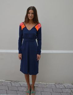 Casual blue dress with geometric orange and pink by Barzelai