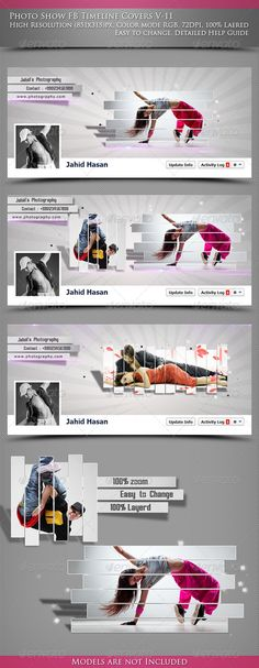 Buy Photo show FB Timeline Covers by Jahid on GraphicRiver. Features Easy To Edit High Resolution Layered Adobe Photoshop . Graphic Design Flyer, Web Design, Buy Photos, Cover Photos, Photo Slider, Website Slider, 404 Pages, Facebook Cover Design, Facebook Timeline Covers