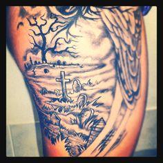 Graveyard tattoo for Dusitn.