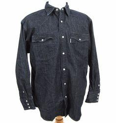 Carhartt Chore Shirt XL Heavy Denim Jean Western Pearl Snap Dark Wash Rancher #Carhartt #Western
