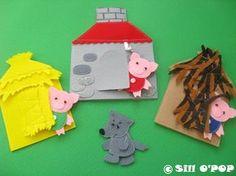 Felt toys - The Three Little Pigs Felt Finger Puppet Toys PDF Pattern – Felt toys Felt Board Stories, Felt Stories, Flannel Board Stories, Flannel Boards, Felt Finger Puppets, Felt Puppets, Puppet Toys, Fairy Tales For Kids, Felt Quiet Books