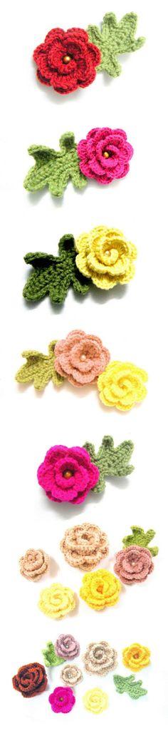 Crochet Rose Flower and oak leaf acrylic yarn pinback by Chieu