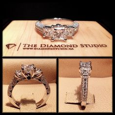 Here is my latest vintage meets modern engagement ring. This design was made with a .70ct princess cut in the centre. The centre diamond is flanked by 2 beautifully matched princess cuts. The shank was made with diamonds in a bead setting and the gallery incorporates my signature vintage work. #diamond #diamonds #wedding #weddings #engagement #ring #rings #bride #brides #jewellery #jewelry #vintage #diamondboi