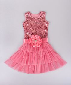 Look what I found on #zulily! Mia Belle Baby Pink Sequin Rosette Tiered Dress - Toddler & Girls by Mia Belle Baby #zulilyfinds