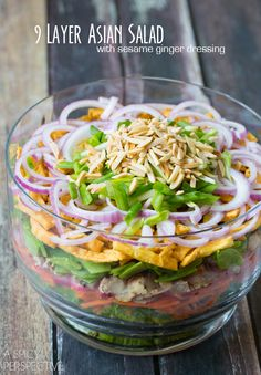 A Spicy Perspective: 9-Layer Asian Chicken Salad with Honey Sesame Ginger Dressing. You could use another meat or omit meat altogether. Luncheon main dish with meat, dinner side dish without.