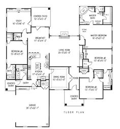 First Floor Plan of Ranch House Plan 96817 Wow