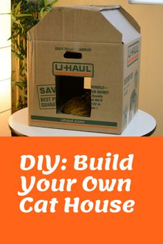 Cat houses don't have to be expensive. Here are some easy tips for building the PURRRfect cat house on your own! The Effective Pictures We Offer You About House Moving card A qua Cardboard Forts, Cardboard Cat House, Cardboard Castle, Moving House Quotes, Quotes About Moving On, Moving Boxes, Moving Card, Moving Tips, Moving Hacks