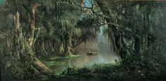 Morris Museum of Art, Augusta GA Meyer Straus (1831–1905) Bayou Teche.   c. 1870.  Oil on canvas swamp in Bayou Teche represents a landscape that truly belongs to the South, it is likely that such a scene may not be found in nature.