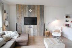 Houten voorzetwand tv; kan ook met sfeerhaard.