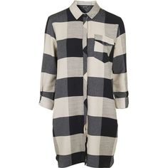 TOPSHOP TALL Oversized Check Shirtdress ($75) ❤ liked on Polyvore featuring dresses, black, tall dresses, cotton shirt dress, kohl dresses, black shirt dress and long shirt dress