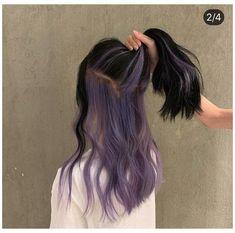 Hair Color Streaks, Hair Color Purple, Hair Dye Colors, Hair Color For Black Hair, Purple Peekaboo Hair, Purple Hair Dyes, Long Purple Hair, Two Color Hair, Purple Hair Highlights