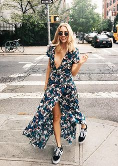 flowy teal blue floral print dress and old skool vans. dresses and sneakers are definitely in! Check out our selection on ZOOSHOO