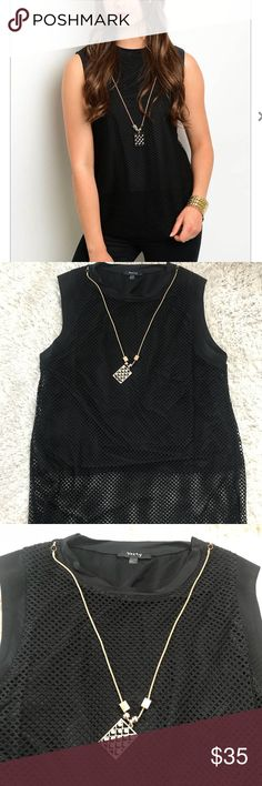 Black Mesh Sleeveless Top Fishnet style mesh creates an edgy look on this sleeveless top. Gold-colored necklace is included and is detachable. Mesh layer is 100% Polyester, inner layer is 92% polyester and 8% spandex.   S- 2-4 M-6-8 L- 10-12  Smoke free, pet free home verty Tops Blouses