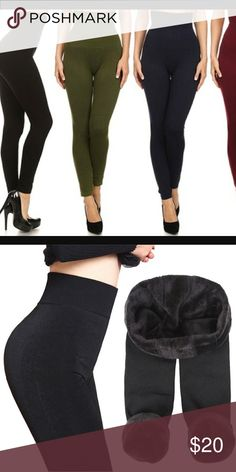 JUST In!!!  SLIMMING HIGH WAISTED LEGGINGS Keep warm by looking HOT !  With these super comfy  high waisted   compression slimming  leggings  these high waisted babies will flatten out your tummy while keeping you warm and cozy lined with fleece!!! Other