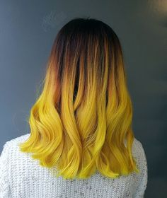 Experimenting with hair is always fun. Yellow hair color dye trendy colorful hair short hair new bold different Yellow Hair Dye, Hair Orange, Purple Hair, Bold Hair Color, Ombre Colour, Coloured Hair, Dye My Hair, Dip Dye Hair Short, Ombre Hair
