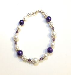 Purple & white glass pearl and glass crystal bracelet