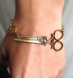 Antique brass scissor bracelet  wish bracelet by pier7craft, $6.50