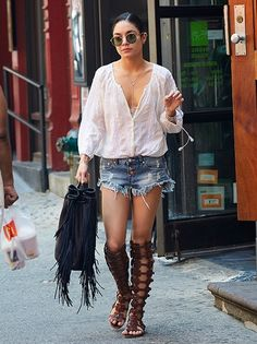 Boho babe Vanessa Hudgens loves her a good pair of denim cutoffs...and we love us these budget-friendly One Teaspoon beauties.