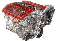 Corvette C6 LS7 engine fitted to Z06 models: Dry sump lubrication, Titanium conrods, Sodium cooled exhaust valves. Awesome!