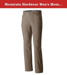 Mountain Hardwear Men's Mesa II Pant, Khaki, 34 x 32. The Mesa seems like an old favorite from the moment you put it on. Lightweight and quick to dry, this durable hiking pant made from 100% nylon delivers. A full-length inseam gusset aids mobility and a soft, extra-wide tricot waistband keeps you comfortable while packing in. Unique compression pockets at rear holdyour phone securely, while the low profile thigh pocket is especially handy on the trail. Mesh lined pockets for river…