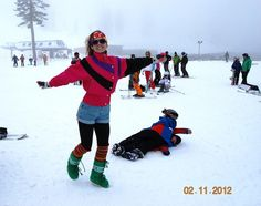Judit in front of wrestling Falcons by Mt. Rose Ski Tahoe, via Flickr