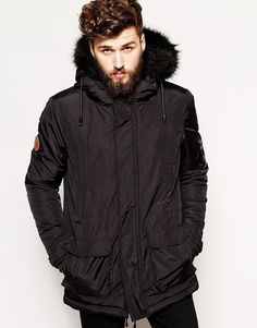 French Connection Mens Hooded Quilted Parka Coat / Jacket XL ...