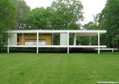 Farnsworth House, by Ludwig Mies van der Rohe, at Plano, Illinois, 1946 to 1950.  Photo by Rosa M. Faes