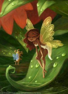 Funny illustration Art by Bobby Chiu - Fairy and the fairy puppy cartoon wallpaper 21 Fairy Dust, Fairy Land, Fairy Tales, Fantasy World, Fantasy Art, Kobold, Love Fairy, Beautiful Fairies, Magical Creatures