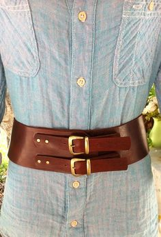 Classic wide leather belt womens leather belt brown leather