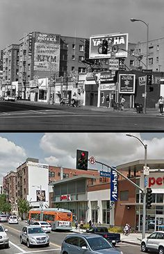 Then and Now: Hollywood Blvd. and Western Avenue. Top photo is from 1981. Bizarre Los Angeles