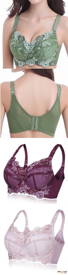 6f59f0dbc87cc Plus Size B-H Cup Women Embroidery Bra Comfy Breathable Adjustable Thin  Underwear
