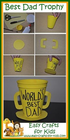 Easy and quick craft to have the kids do in the classroom! They can give it to any man in their life that they see as the World's Best Dad!  Step by Step Instructions for Our Dad's Trophy Fathers Day Crafts.