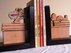 Handmade wooden Snoopy bookends