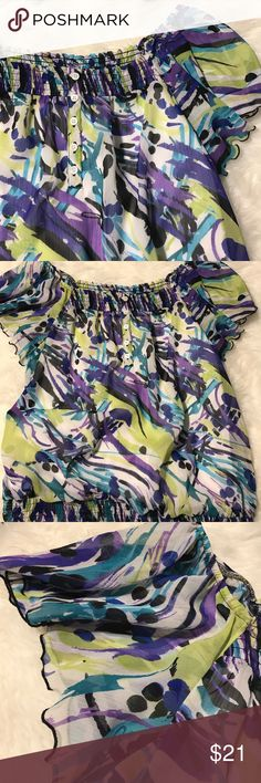 AB studio top Purple lime green black. Sheer overlay. Flutter sleeves. Elastic waistband. Size XL. 21 bust 27 length. All measurements are approximate AB Studio Tops