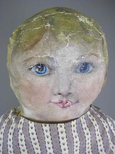 "32"" ANTIQUE PRIMITIVE OIL PAINTED CLOTH DOLL : Lot 73"