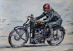 Motorcycle Paintings Art | Velocette KTT Classic vintage cylinder racer