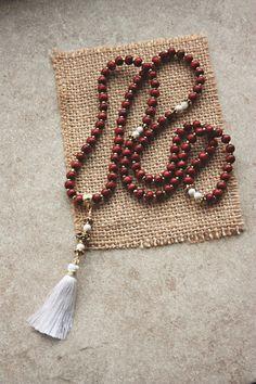 108 Mala Beads - Red Sandalwood Mantra Awakening Chakras Healing Beads Japa Mala - Beaded Necklace