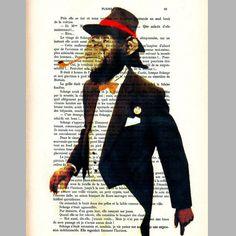 Monsieur Be Cool  ORIGINAL ARTWORK  Mixed Media by Cocodeparis, $10.00