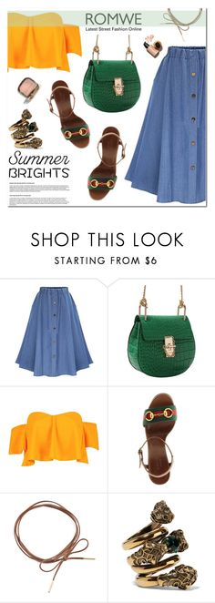 """""""Romwe Denim Flare Skirt"""" by fee4fashion ❤ liked on Polyvore featuring Boohoo, Gucci, Riah Fashion and romwe"""