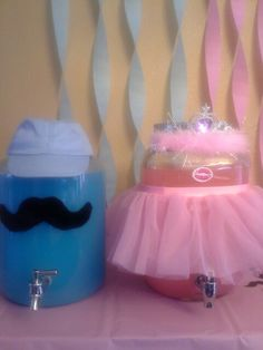 Moustache or Tiara/Tutu - Baby Gender reveal party drinks http://www.mybigdaycompany.com/baby-showers.html                                                                                                                                                      More