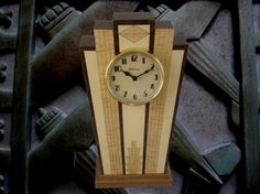 wood mantel clock | Art Deco Mantle clock with wood dial by MWBStudios on Etsy