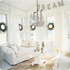 Tips On White Room Decor Spontaneous White Living Room Decoration . White Room Decor, All White Room, White Rooms, Decor Room, White Walls, Bedroom Decor, Sweet Home, Coastal Living Rooms, Cottage Living