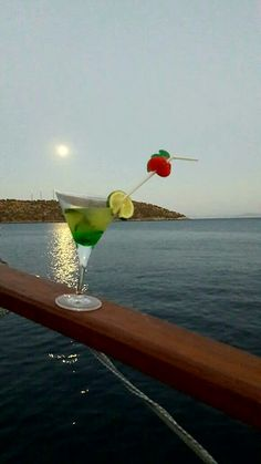 Sunset and a cocktail. Cruises, Martini, Sailing, Cocktails, Sea, Glass, Blue, Travel, Viajes
