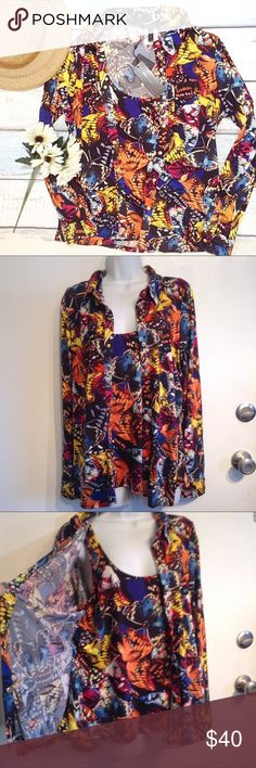 NWT BCBGMAXAZRIA Butterfly Print Layered Top New with tags. BCBGMAXAZRIA all over colorful butterfly monarch print faux layered top. Meant to look like a slinky snap up cardigan layered over a matching tank. Perfect for a business casual office look paired with black slacks or a skirt. Size large. No modeling. Smoke free home. I do discount bundles. BCBGMaxAzria Tops Blouses